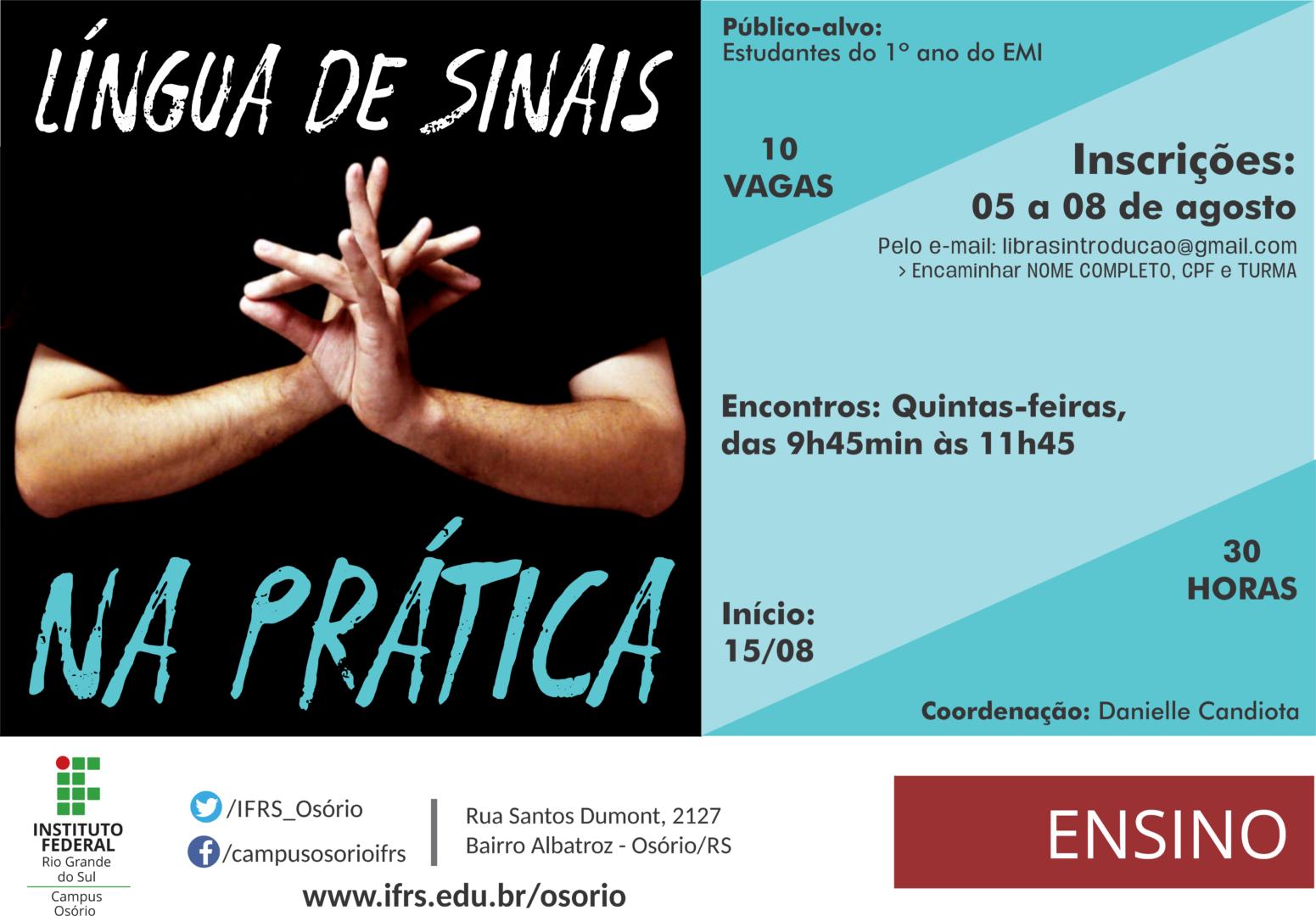 Cartaz de divulgação do curso Lingua de Sinais na prática