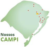 Mapa do Rio Grande do Sul com marcações nas cidades onde o IFRS está presente.